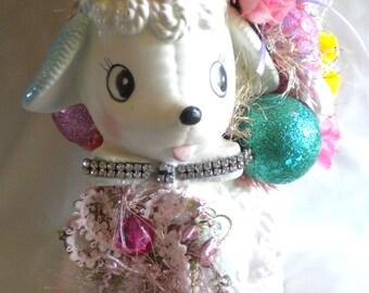Pink Easter Decoration Decor Vintage Lamb Planter Bottlebrush Sisal Tree Vintage Rhinestone Jewelry Vintage Ornaments