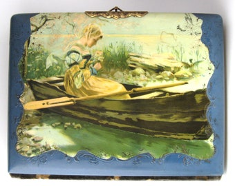 Victorian Photo Album Woman In Boat Celluloid Blue Velvet Back 1880s Cabinet Cards Antique Photos