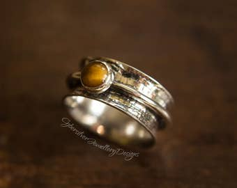 Silver spinner ring, silver fidget ring, silver worry ring, tigers eye silver ring, textured silver ring, wide ring, size O, size 7 1/4