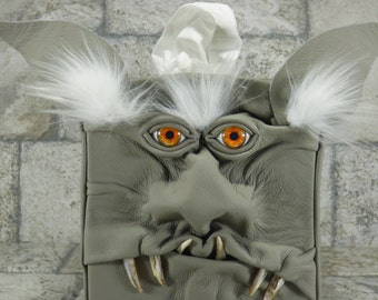 Troll Tissue Box Holder Tissue Cover Grey Leather Monster Face Harry Potter Labyrinth