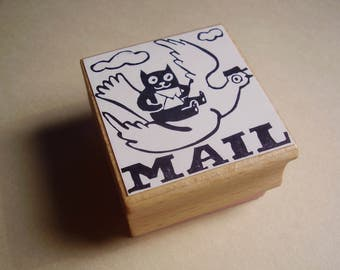 Mail stamp cat flying handcarved