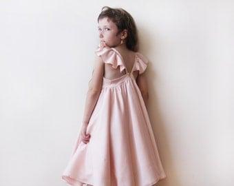 Pink butterfly dress, Flower girl pink dress 5003