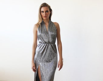 Silver metallic halter-neck gown, Halter silver pleated maxi dress with slit 1137
