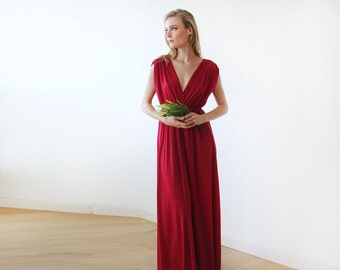 Bordeaux maxi floor length dress, Bridesmaids red long dress 1003
