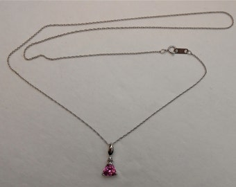 "10K White Gold Pink Sapphire Triangle Pendant Necklace  18"" Rope Chain"