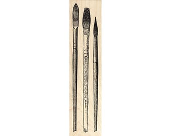 Assorted Brushes 1272L Beeswax Rubber Stamps Unmounted, Cling, Mounted Stamp Collage Stamping
