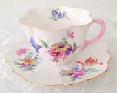 Thanksgiving Sale Vintage Shelley English Fine Bone China Dainty Shape German Floral Pattern Tea Cup and Saucer Wedding Gift Inspiration - c