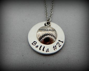 Softball Necklace - Hand Stamped Necklace - Softball Player Jewelry - Softball Mom - Gift for Mom - Mother's Day Present - Sports Mom