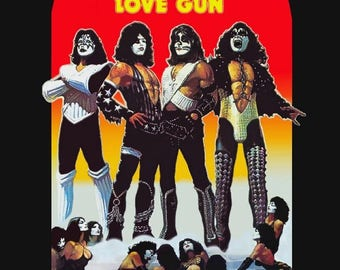 "KISS 1977 Love Gun ""Revolver"" Advertisement Stand-Up Display - Rock Metal Glam Band Collectibles Collection Memorabilia Gift Gene Simmons"