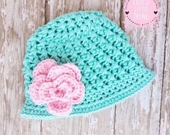 Baby Girl Spring Hat, Crochet Spring Hat, Baby Summer Hat, Crochet Girl Hat, Baby Flower Hat, Summer Flower Hat, Girl Easter Hat,  Easter