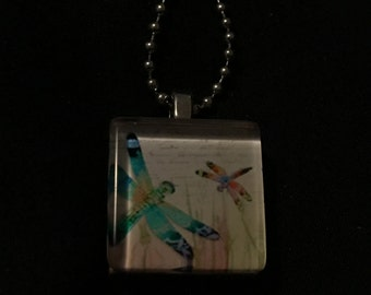 Dragonfly Scrabble Necklace