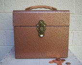 Vintage HAMMERED COPPER Metal File BOX with Leather Look Handle- for Storage or Display