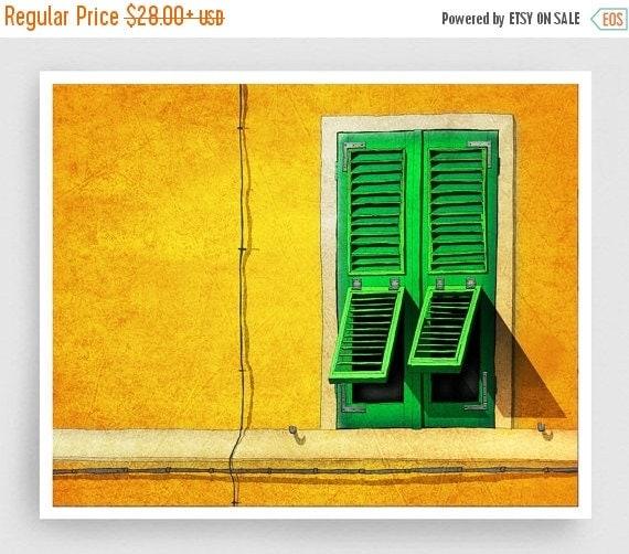 30% OFF SALE: Siesta - Italy illustration Art Print Poster Home decor Wall art Modern Art Gift idea Architecture Yellow Orange Italian facad
