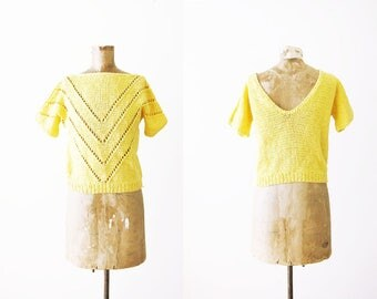 80s Blouse / Knit Womens Blouse / Chevron Blouse / Pointelle / 1980s Womens Yellow Scoop Back Sweater Blouse Small