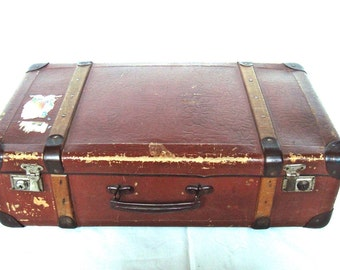 Vintage cardboard suitcase from the 60s Bulgarian large storage box 60s