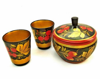 Vintage wooden sugar bowl and 2 teacups Russian hand painted Khokhloma