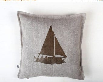 On sale 10% OFF Hostess gift for beach house - sailor - Boat print on gray linen pillow cover hand painted - personalization available  0155