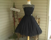 50's stunning black cocktail dress, party dress, illusion look, , flowing chiffon, Hollywood style