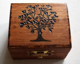 Rustic Wedding Wood Box Olive Tree of Life Love Birds Brown Bearer box Monogram Weddings Ring Proposal Anniversary Wood Burned Box
