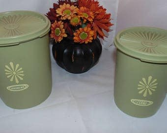 Two Vintage Tupperware avocado green Canisters 809 811 with Servalier Seal lids