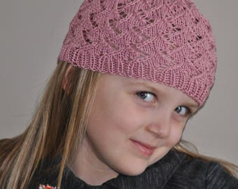 Beanie, Hand Knit Girl Cap,  4 to 6 year old girl sock hat,  Hand Knit,  Cable Pattern,  little girl accessory,  Cotton, Sock Cap