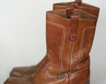 vintage wrangler natural leather campus boots mens size 10D