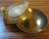 Brass Swan Trinket Box , Brass Bird , Trinket Box , Keepsake Box , Brass Vessel