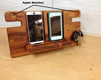 Double phone slot and double  watch slot  dock - made of Tiger Wood