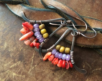 Rustic Wire Wrapped 'Gentle visit from the past' earrings 51a - Tribalis . Mixed Beads . Bohemian Ethnic Colorful . Tribal Boho Beach Summer