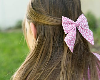 Girls Pink Floral Big Sailor Bow Hair Clip Toddler Accessory