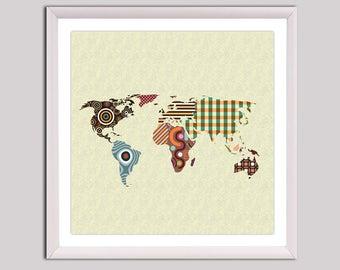 world map wall art world map poster world map decor world map painting
