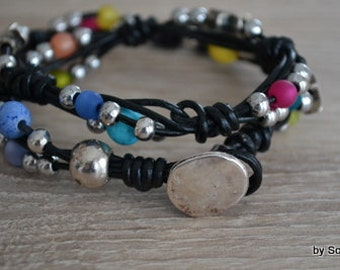 Leather Bracelet with colorful beads.