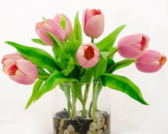 Real Touch Tulip Arrangement with Pink Tulip Flowers Artificial Faux in Round Vase for Home Decor and Silk Centerpiece