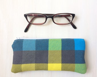 Plaid Pattern Flannel Pouch - Zippered - Soft Glasses Case - Blue, Yellow, Gray - Lined -Coin Purse -Lightly Padded Small Pouch - Guys Gifts