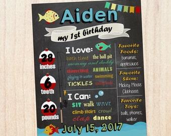 Fishing Birthday Chalkboard sign. PRINTABLE first birthday fishing party decorations. Custom 1st Birthday chalk board print. DIGITAL