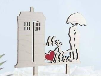 Dr Who Cake Topper It's Raining Tardis Wedding Cake Topper - Couple Event Cake Topper - Laser Cut on Wood or Acrylic