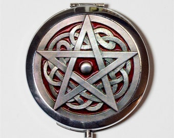 Wicca Pentacle Compact Mirror - Wiccan Witch Witchcraft Occult Pentagram - Make Up Pocket Mirror for Cosmetics