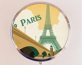 Paris Pill Box Case Pillbox Holder Trinket Stash Box Eiffel Tower French Travel Poster