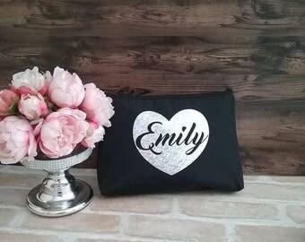 Large Personalised Makeup bag; bride gift; personalised cosmetic bag; makeup purse; personalised bag; make up bag, gift for her