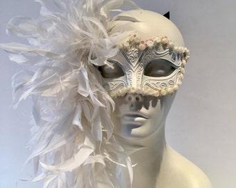White Mask- Diner en Blanc- Mask- Masquerade Mask- Costume party mask- Masked ball- Masquerade Ball- Mardi Gras- Bridal mask- Custom Mask