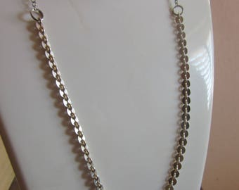 SALE 20% OFF - Flat Silver Necklace - Designed Textured Necklace