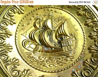 2 Vintage Brass Plates - Ship Wall Hanging - Ship Plates - Vintage Boat Wall Decor - Brass Platter - Made In England