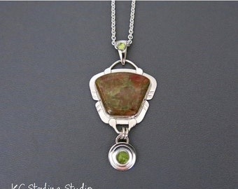 20% OFF Holiday Sale - Natural unakite and sterling silver pendant necklace
