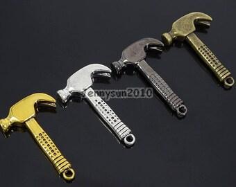 Vintage Antique Solid Metal Hammer Sinker Bracelet Connector Pendant Charm Beads Silver Gold Bronze Gunmetal