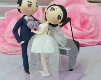 Wedding Cake topper pianist wedding in purple theme clay doll,bride and groom dance front of the piano clay miniature,engagement clay figure