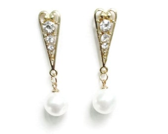 White Pearl and Crystal Rhinestone Dangle Drop Earrings Metal Gold Post Wedding Prom Evening Formal Event Wear Fashion Statement Jewelry
