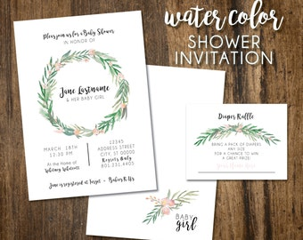 Watercolor Shower Invitation INSERT INCLUDED!