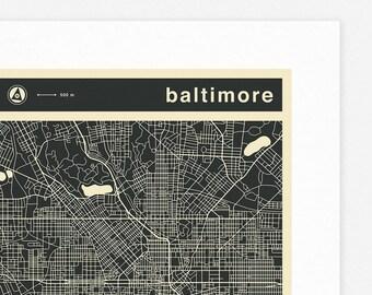 BALTIMORE MAP (Giclée Fine Art Print, Photographic Print or Poster Print) mono version