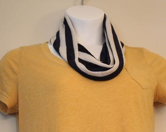 Navy Blue and Cream Striped Lightweight Half-Length Jersey Knit Infinity Scarf - cute, all seasons, fall, spring, cowl