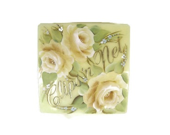 Sally Gould hair clip box for the vanity table with handpainted pastel florals, 1950's.